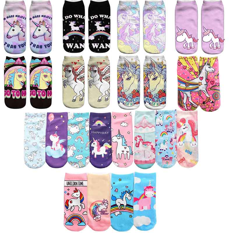 US $1.07 38% OFF|Trend Cute 3D Print Socks Women Ankle Socks Cartoon  Animal Unicorn 3D Printing Sock Art Socks female-in Socks from Underwear & Sleepwears on AliExpress