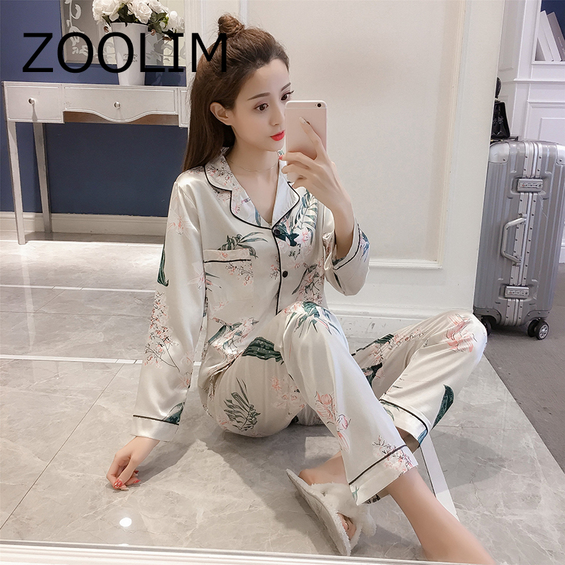 ZOOLIM Plus Size 5XL Sleep Lounge Satin Women Pajamas Spring Sleepwear Long Sleeve Silk Pijama Women's Pajamas With Pants