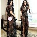 Black lace mulheres hot intimates deslizamentos completos deslizamento sexy lingerie V profundo longo deslizamentos