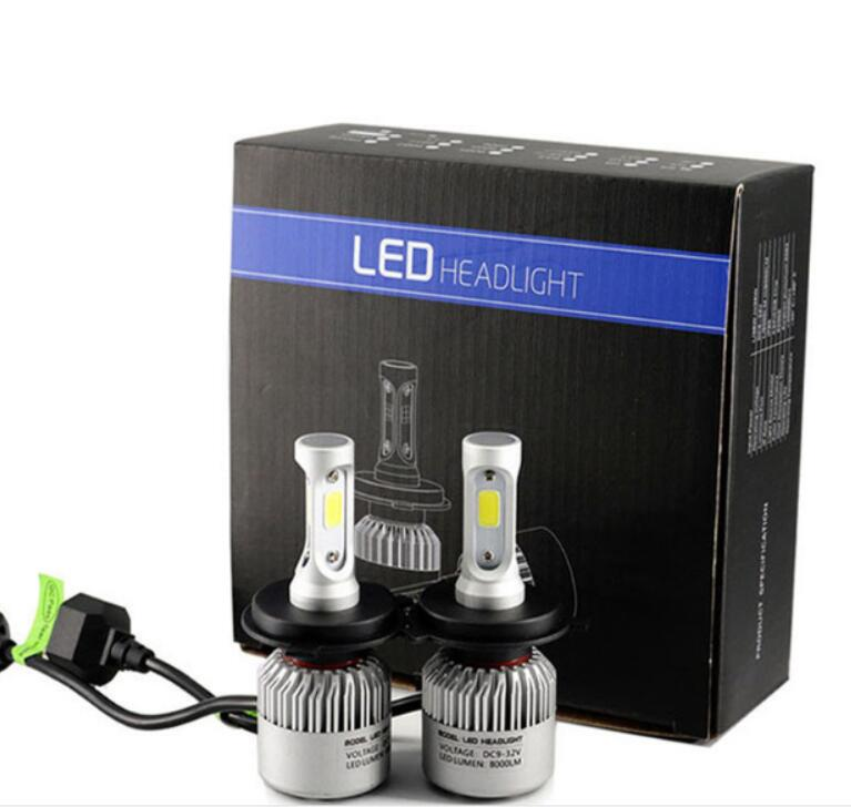 2Pcs S2 12V automobiles Car Headlight H4 LED H7 H1 H3 H11 H13 9003 9004 9005 9006 9007 72W 8000LM Auto Headlamp 6500K Light Bulb