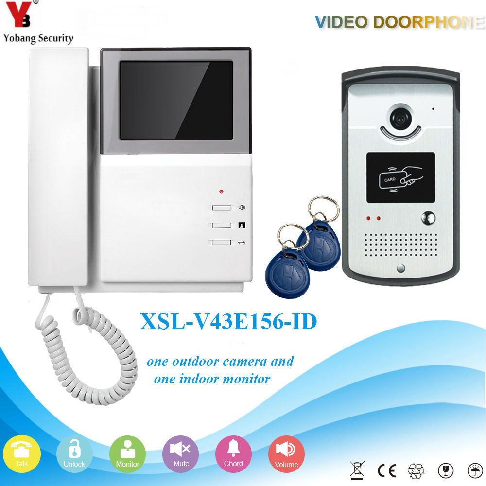 "YobangSecurity Home Security Video Intercom 4.3""Inch Monitor Video Doorbell Door Phone Intercom Camera Monitor System Apartment-in Video Intercom from Security & Protection"