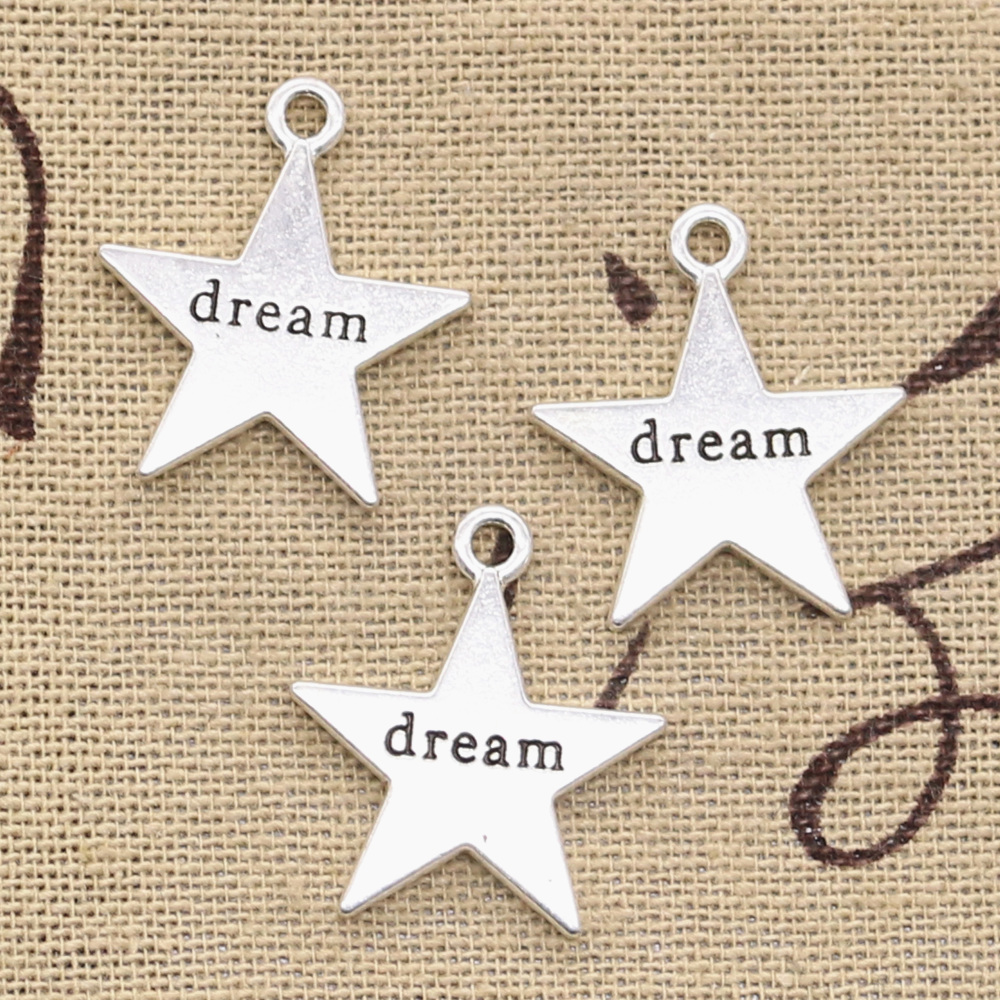 6pcs Charms Star Plates Dream 23x20mm Antique Bronze Silver Color Plated Pendants Making DIY Handmade Tibetan Finding Jewelry