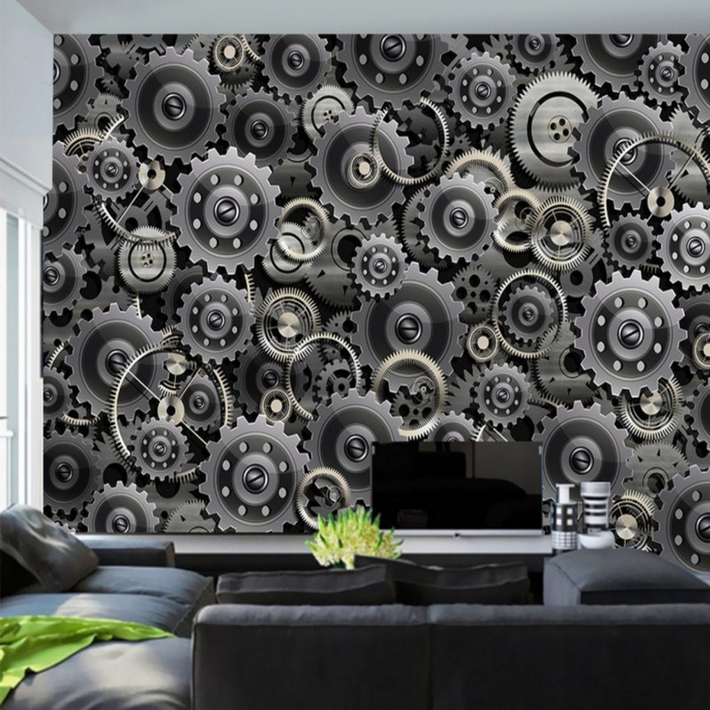 Us 16 25 38 Off Wallpaper 3d Silver 3d Gear Technology Background Wall Wallpaper Living Room Restaurant Decoration Mural In Wallpapers From Home