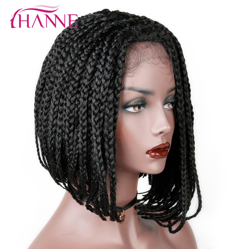 HANNE 14inch Synthetic Lace Front Wig With Baby hair African American Braided Black Color Box Braids Bob Wigs for Black Women