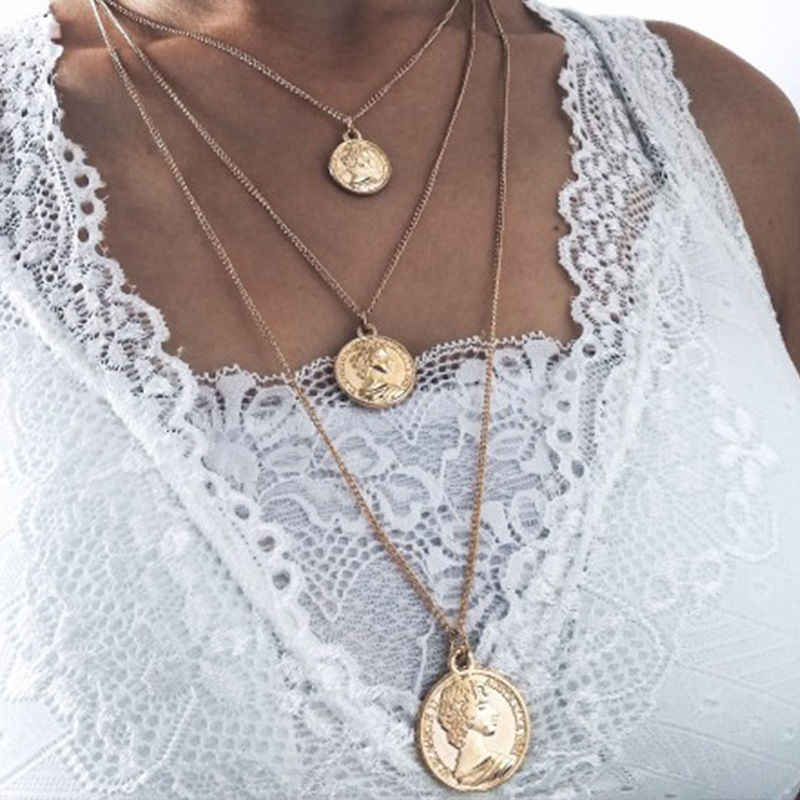 Simple design pendant necklace bohemian female multi-layer chain necklace retro gold carved coin necklace jewelry new 2019