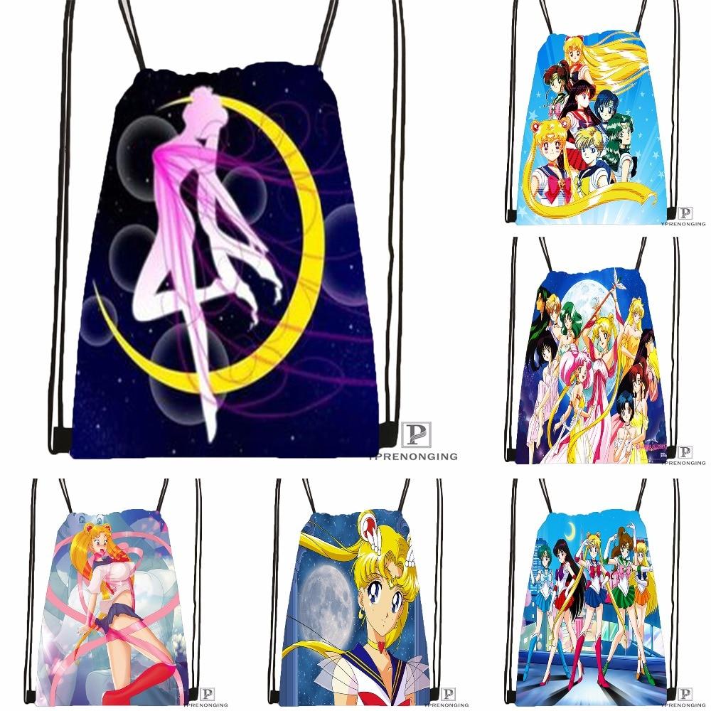 Custom Sailor Moon And The Scouts Drawstring Backpack Bag Cute Daypack Kids Satchel (Black Back) 31x40cm#180531-03-19