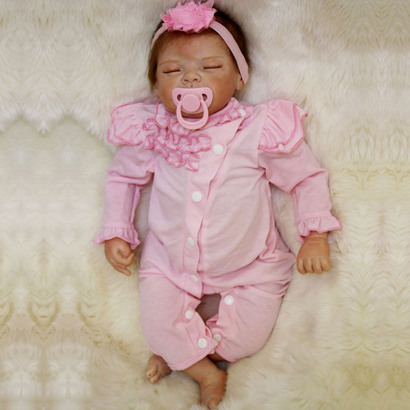 Lovely Doll Toys 55cm Silicone Baby Doll Toys 22inch Soft Silicone Reborn Dolls Newborn Lifelike Pink Cloth Baby Toys