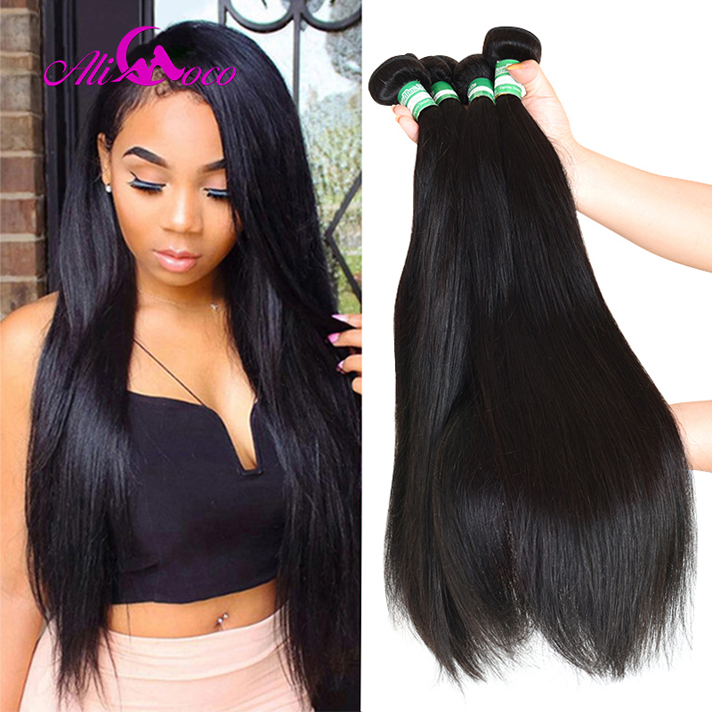 Ali Coco Brazilian Straight Hair 4 Bundles 100% Human Hair Bundles 8-28 Inch Brazilian Hair Weave Bundles Non-Remy Extensions(China)