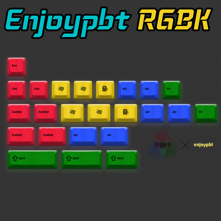 enjoypbt pbt 24key keyboard keycaps RGBK Dye Sub Keycap Set for mechanical keyboard keycap 1.75shift CMYK жидкость cmyk key 100мл 0мг