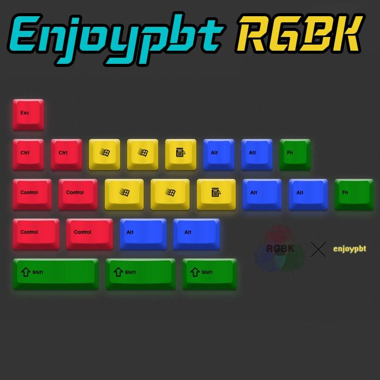 enjoypbt pbt 24key keyboard keycaps RGBK Dye Sub Keycap Set for mechanical keyboard keycap 1.75shift CMYK cool jazz pbt cherry mx mechanical keyboard keycaps 151 key dye subbed cherry profile 1 75shift iso keys for corsair strafe k65
