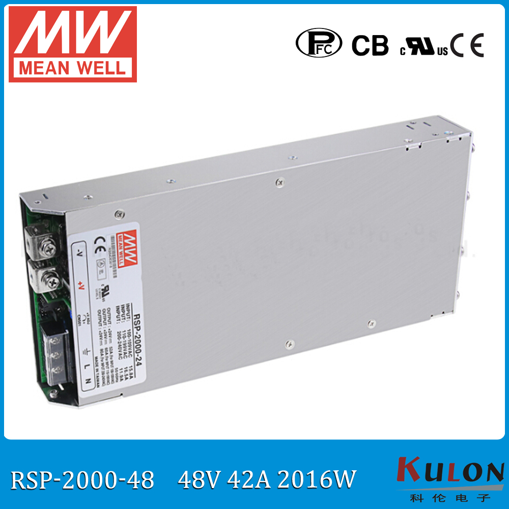 Original MEAN WELL RSP-2000-48 2000W 42A 48V voltage trimmable meanwell Power Supply 48V with PFC function Parallel operation original mean well rsp 2400 12 2000w 160a 12v voltage trimmable meanwell power supply 12v 2000w with pfc in parallel connection