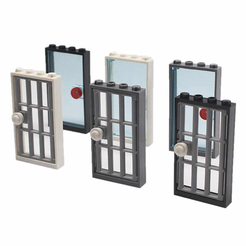 2 jogos/lote MOC Tijolos Moldura Da Porta Tipo 1x4x6 2 & Porta 1x4x6 barrado com Stud Punho blocos tijolos Brinquedos caçoa o presente