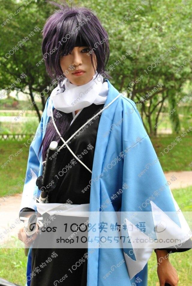 Hakuouki Saitou Hajime Cosplay Costume Black Kimono Scarf Belt Headband Coat Free Shipping