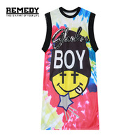 Women Midi Dress 2016 New HARAJUKU Sequin Tie Dye Print Sleeveless Long Tee Shirt Dress For