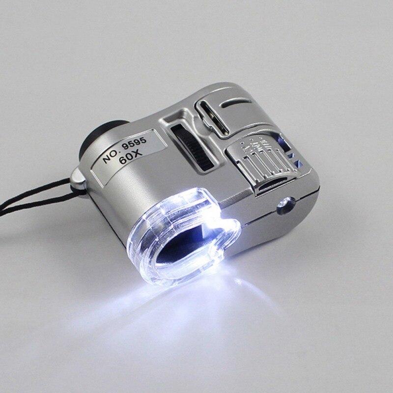 Portátil Mini 60X Microscópio de Bolso Lupa Lupa Microscópio Jóias Lupa Multifuncional Com Luz UV Mais Novo
