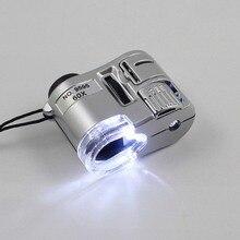 Портативный мини 60X микроскоп Ювелирные изделия Лупа многофункциональный с УФ-светильник Карманный увеличительное стекло Новые