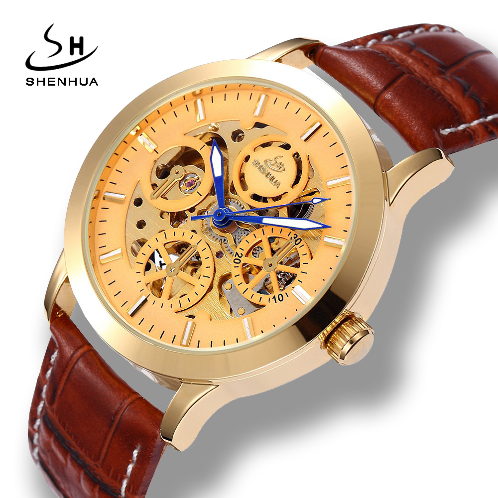 Shenhua 2018 New Arrival Luxury Gold Skeleton Watch Men Mechanical Automatic Sell WindLeather Mechanical-Watches Mens Watches