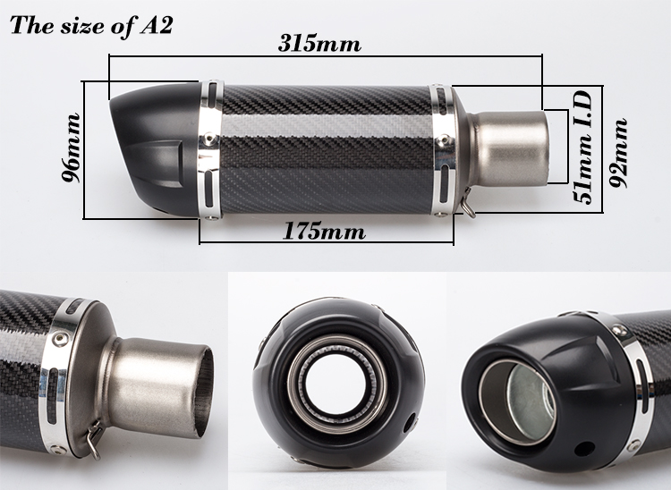 Universal Carbon fiber 51mm Exhaust Muffler Motorcycle Exhaust Moto Escape For Yamaha Honda Kawasaki blue black Silver