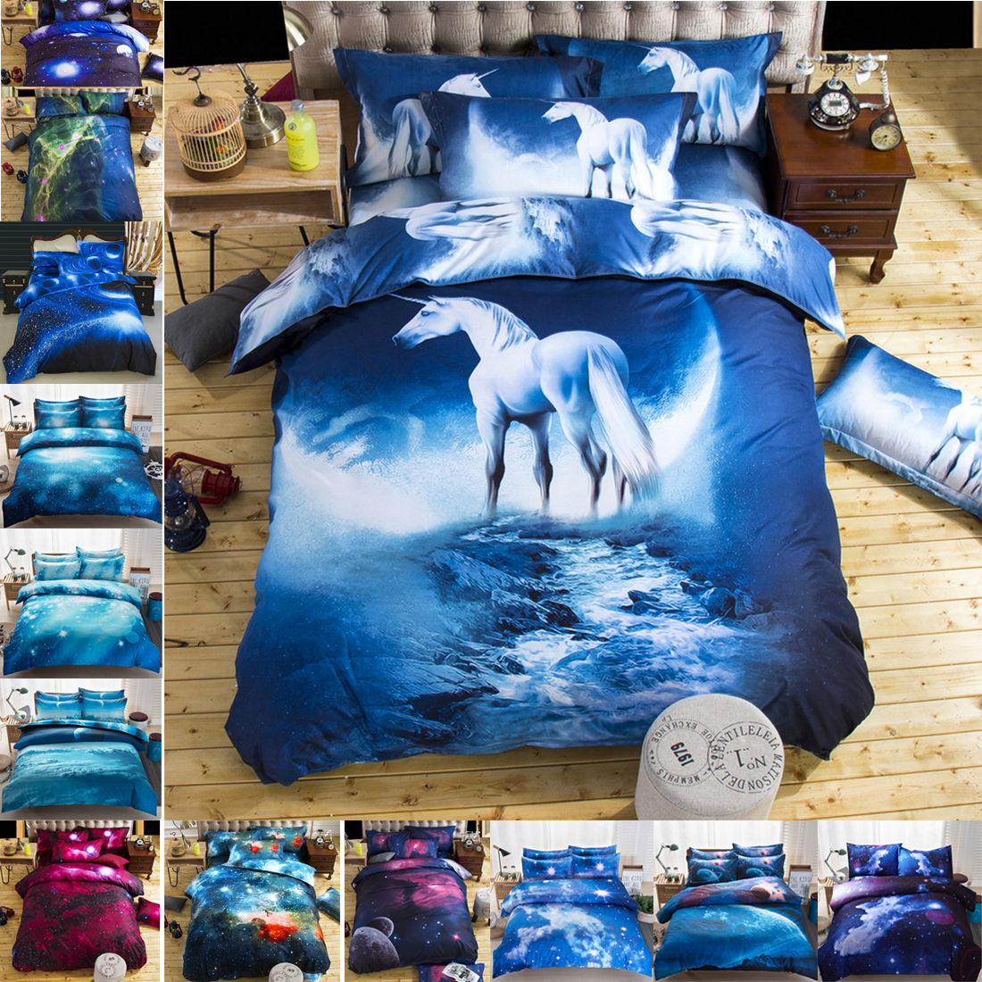 Single double twin queen 2pcs 3pcs 4pcs bedding sets for Outer space bedding
