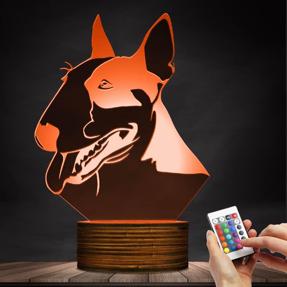 1 pièce Pit Bull Terrier Forme Conception LED Nuit Lumière Chiot Chien Pet 3D Lampe de Table Lampe De Bureau Pet Propriétaire éclairage décoratif Cadeau