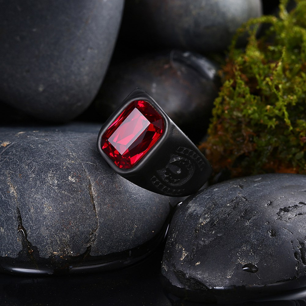 HTB14Jida8WD3KVjSZKPq6yp7FXau - Vintage Red Stone Black Rings For Men Male jewelry Gift wholesale|stainless steel ring