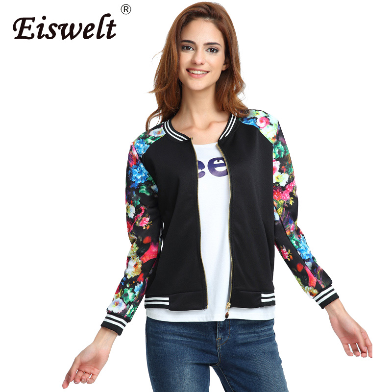 Plus Size Flower Print Women Jacket Striped Tops Girl Casual Baseball  Button Thin Sweatshirt Bomber Long Sleeves Coat Jackets-in Basic Jackets  from Women s ... 26e08de3f7