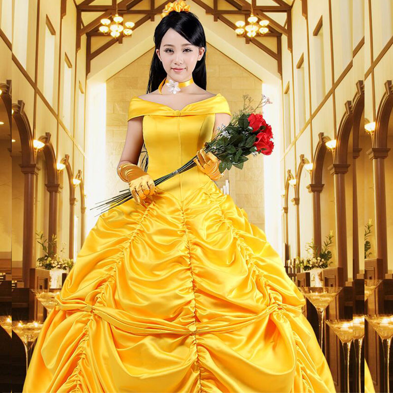 COSFANS Beauty and the Beast Fancy Dress Cosplay Costume princess belle adult women female Halloween Costumes fancy Costume Suit