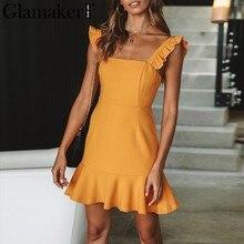 f3f53d3c82 Glamaker cinta Plissado backless beach dress aptidão Das Mulheres da sereia  amarelo vestido de verão 2018 Sexy azul moda vestido.