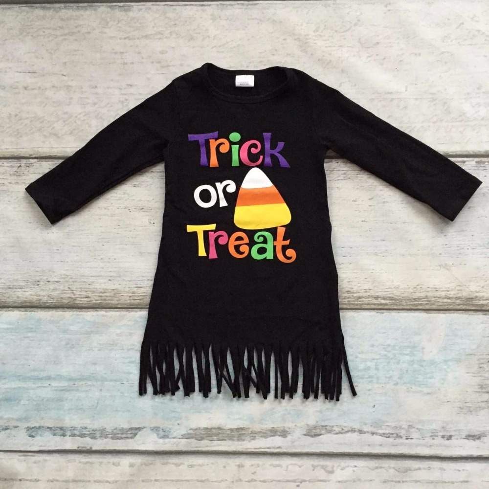new arrival Halloween baby girls kids Fall fringe tassels outfits dress Trick or Treat corn black cotton long sleeve children 2016 new arrival baby girls outfits halloween baby kids boutique baby girl halloween sets with necklace and headband leg warmers