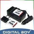 Digital Boy (4 unids/set) 2 unids slb-10a slb 10a batería de la cámara + cargador + cargador de coche para samsung l100 l110 l210 it100 wb500 pl65 z1