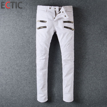 ECTIC Men white casual Locomotive jeans sportsman Folded Decorative Pants fashion trousers 28-40