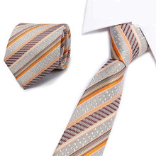 New Striped Ties Men's Fashion Tie 8cm Blue Necktie yellow& Orange Color Neck Tie For Men Business Red Wedding Suit Accessory(China)