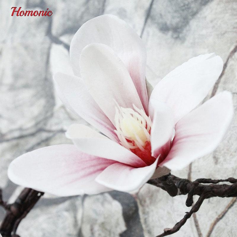 Magnolia Artificial Flower Silk Fake Flowers Branch Boutonniere