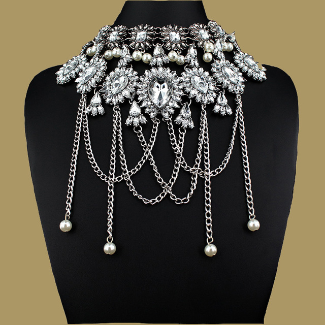 Rococo style Fashion Jewelry Vintage pearl Neck Bib Collar Chokers Statement Necklaces & Pendants women Evening party