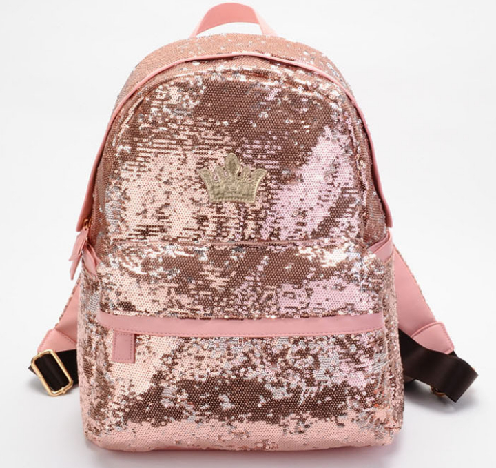 1 piece Hot Sell Women's Fashion crown Sequins Paillette Backpack Women Ladies Girls Leisure School Bag travel bag