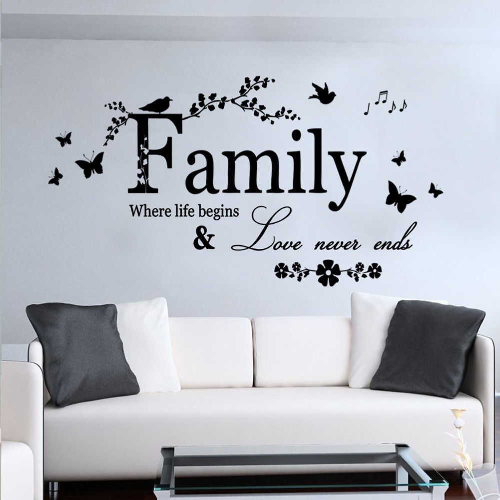 Family Where Life Begins Quote Flower Butterfly Mural Wall Sticker Words  Decal In Wall Stickers From Home U0026 Garden On Aliexpress.com | Alibaba Group