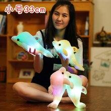 33 см Красочный светодиодный светильник, подушка в виде животного, милая маленькая чучело дельфина, плюшевая игрушка для домашних животных, подарок на день рождения для девочек