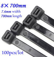 100pcs/lot 8x700mm Self locking Nylon Cable Ties Plastic Zip Tie Black/White wire binding wrap straps Nylon 66 8*700mm