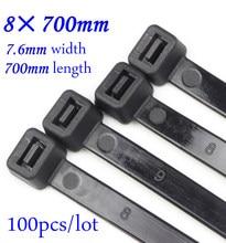 100 pçs/lote 8x700mm auto travamento cabo de náilon laços plástico fecho de correr preto/branco fio encadernação envoltório cintas de náilon 66 8*700mm