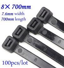 Colliers de câbles en plastique en Nylon, auto bloquants, 100 pièces/lot, sangles de fixation de fils noirs/blancs, 66x700mm, 8x700mm