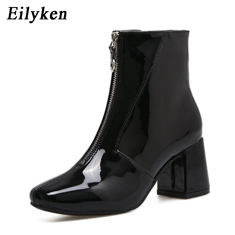 Eilyken Autumn Fashion Chelsea Boots 2018 New Dropshipp Low Heel Boots Zipper Women Round Toe Square
