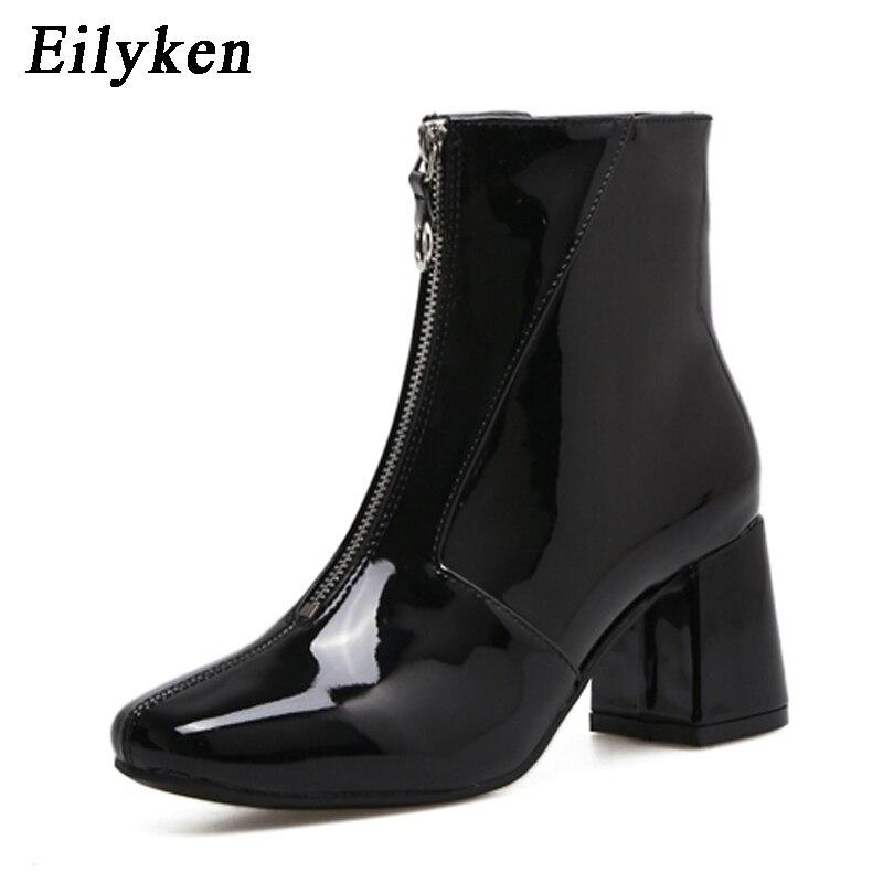 Eilyken de moda de otoño botas Chelsea 2018 nuevo Dropshipp bajo tacón botas de cremallera de las mujeres del dedo del pie redondo de tacón cuadrado botas de cuero