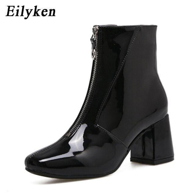 Eilyken otoño moda Chelsea botas 2019 nuevo Dropshipp botas de tacón bajo cremallera mujeres punta redonda Tacón cuadrado charol botas