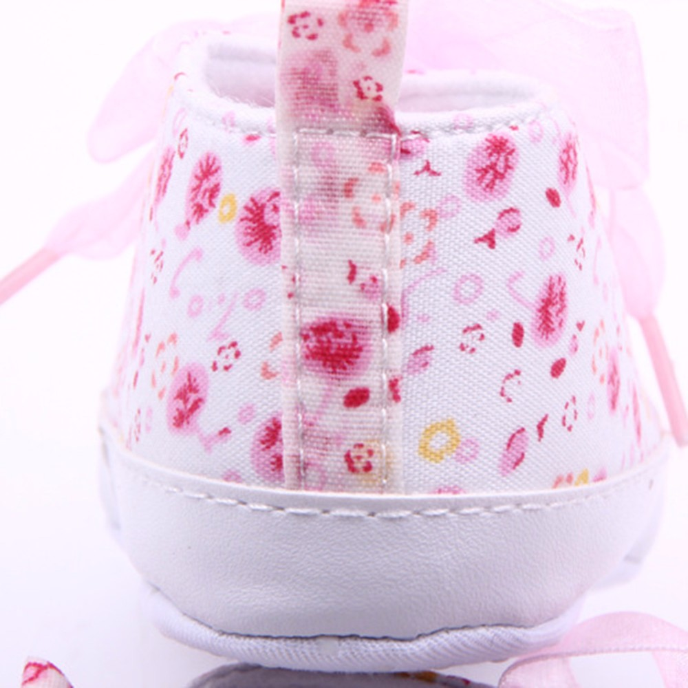HOT Baby Shoes Flower Ribbon Baby Girl Sneaker Lace Up Soft Sole Prewalkers 5