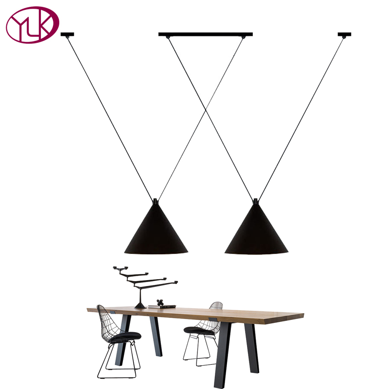 Europe Black Shade Pendant Light Dining Room Kitchen E27 Pendant Lamp Hanging Iron Lighting Fixture LED Luminaria Pendente brass half round ball shade pendant light led vintage copper wooden lighting fixture brass wood fabric wire pendant lamp