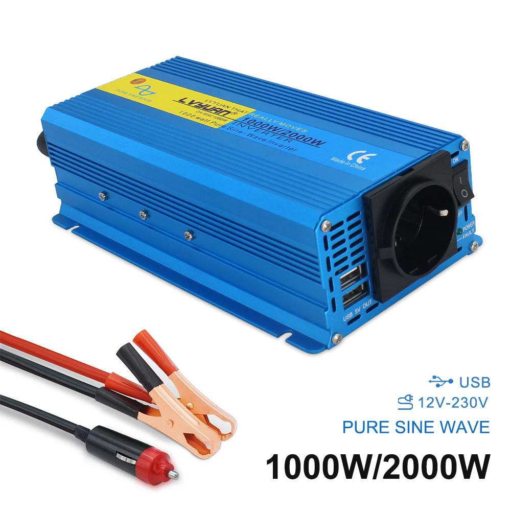 Dual usb 2000W PURE SINE WAVE <font><b>POWER</b></font> <font><b>INVERTER</b></font> DC 12V To AC 110V/230V CAR CAMPING BOAT Converter 3.1A 2 USB image