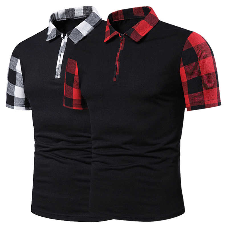 HEFLASHOR Summer Sleeve Plaid Stripe Polo Shirt Men Short Sleeve Polo Shirts Slim Fit Mens Casual Patchwork Clothes Streetwear