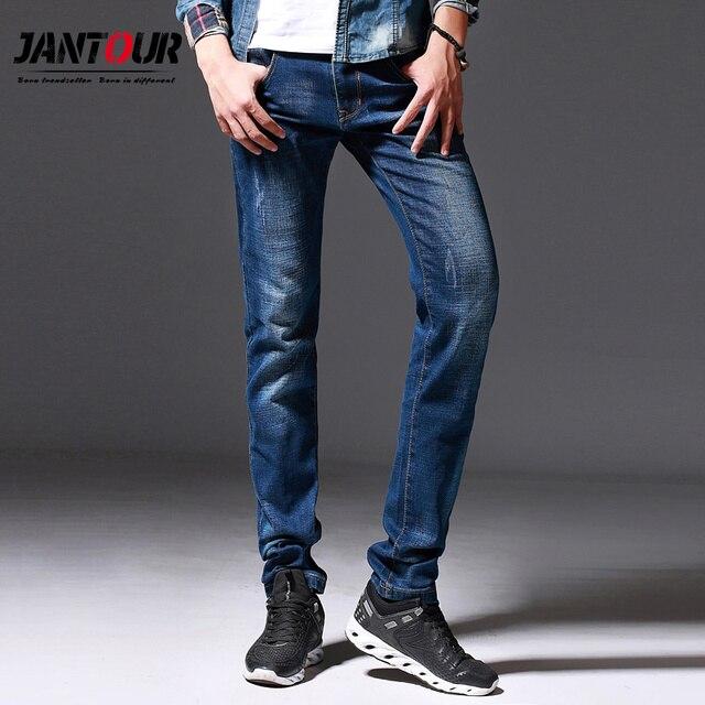 6006c5090 € 17.7 57% de DESCUENTO|Jantour 2018 nuevo lujo hombres marca blue jeans  hombres algodón Slim sólido Casual Stretch Denim jean pantalones para ...