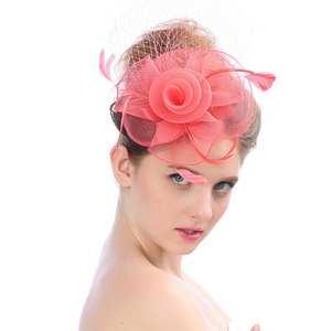 Venta caliente de las mujeres de la moda Fascinator sombrero de malla  cintas y las plumas 8117a7b9c5f