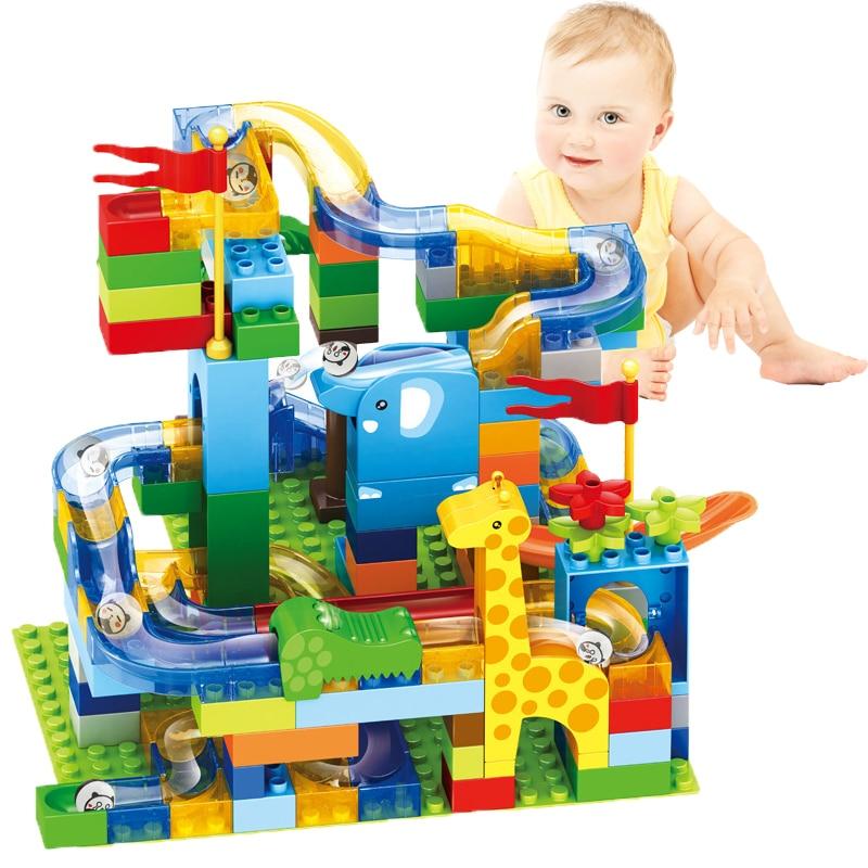 New Marble Race Run Blocks Maze Ball Jungle Track Building Blocks Fun Sliding Ball Brick Birthday Gift Toys For Kids